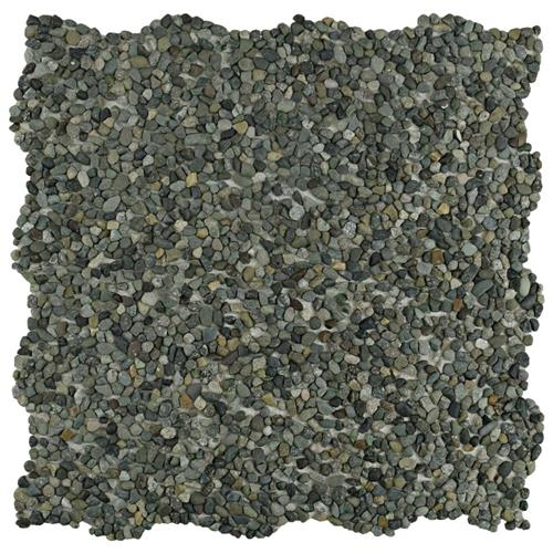 "Picture of Pebblini Mini 704 Olive 12-1/4""x12-1/4"" Pebble Stone Mos"
