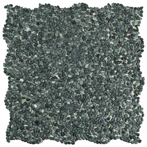 "Picture of Pebblini Mini 603 Seaweed Grn 12-1/4""x12-1/4"" Pble Stone Mos"