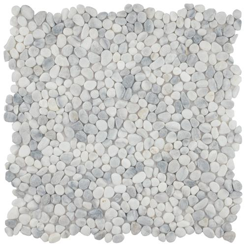 "Picture of Pebblini 604 White Smoke 12-1/4""x12-1/4"" Pebble Stone Mos"