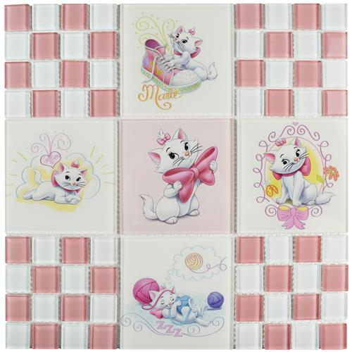 "Picture of Aristocats Pink 11-3/4""x11-3/4"" Glass Mos"