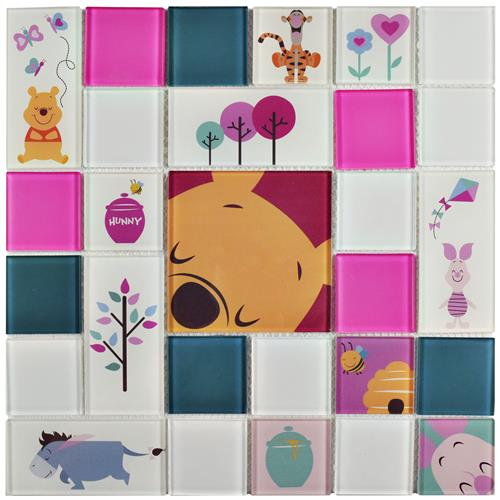 "Picture of Pooh and Friends Pink 11-3/4""x11-3/4"" Glass Mos"