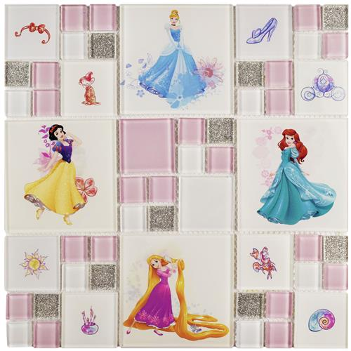 "Picture of Princesses Ice White 11-3/4""x11-3/4"" Glass Mos"