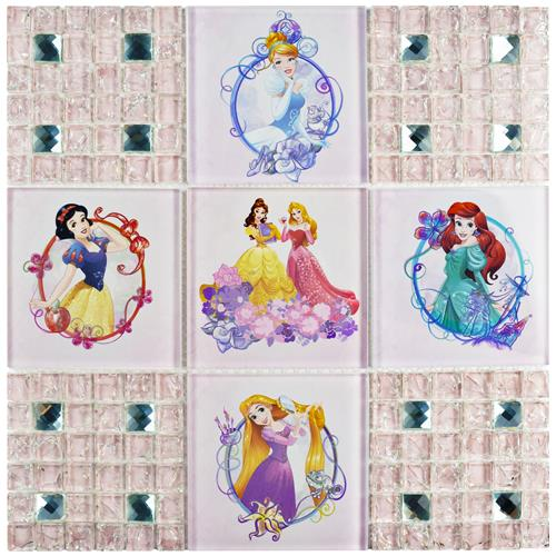 "Picture of Princesses Sparkle 11-3/4""x11-3/4"" Glass Mos"