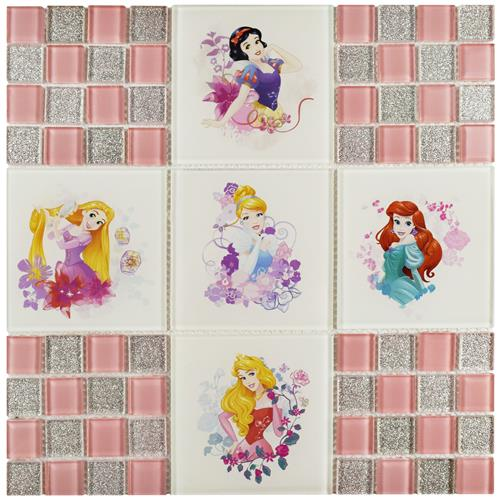 "Picture of Princesses Pink 11-3/4""x11-3/4"" Glass Mos"