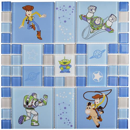 "Picture of Toy Story Blue 11-3/4""x11-3/4"" Glass Mos"