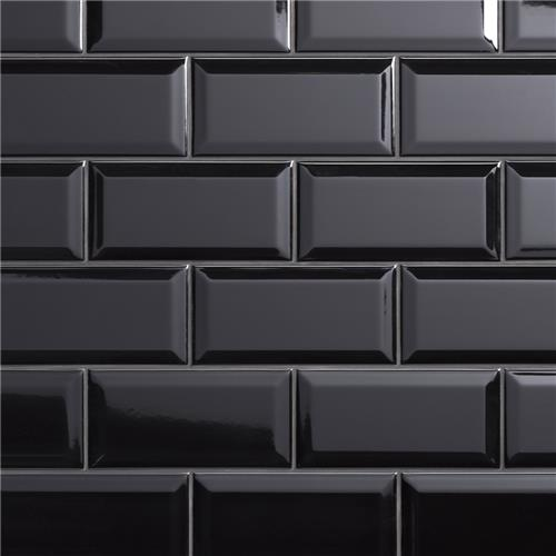 "Picture of Crown Heights Beveled Glossy Black 3""x6"" Ceramic W Tile"