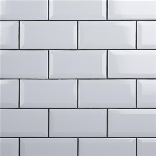 "Picture of Crown Heights Beveled Glossy White 3""x6"" Ceramic W Tile"