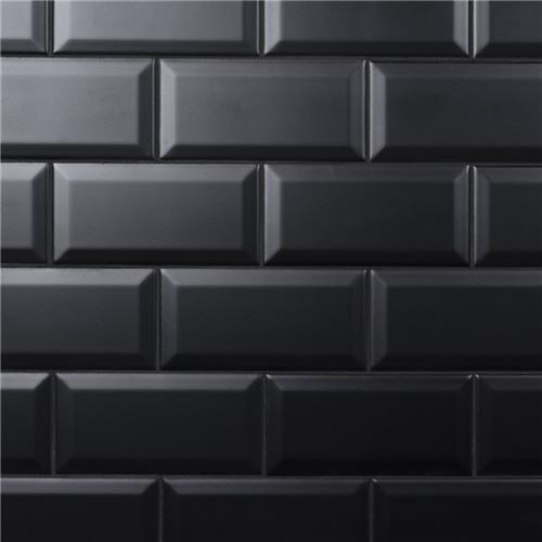"Picture of Crown Heights Beveled Matte Black 3""x6"" Ceramic W Tile"