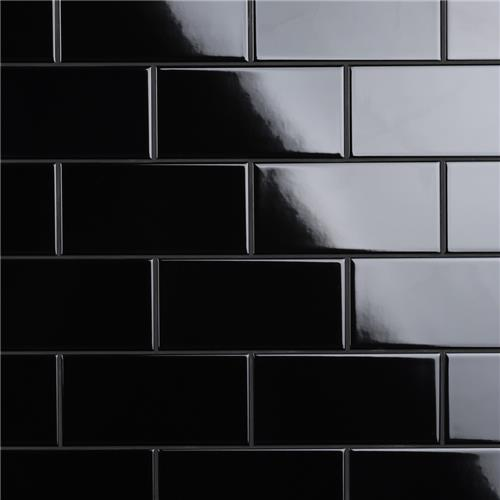 "Picture of Crown Heights Glossy Black 3""x6"" Ceramic W Tile"