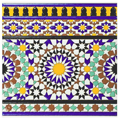 "Picture of Sevillano Andalusia Cenefa 7-7/8""x7-7/8"" Cer W Border Tile"