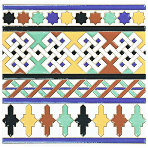 "Picture of Sevillano Giralda Cenefa 7-7/8""x7-7/8"" Ceramic W Border Tile"