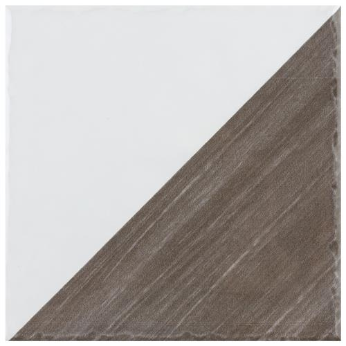 "Picture of Triangle Rustique Glossy Brown 6""x 6"" Ceramic Wall Tile"
