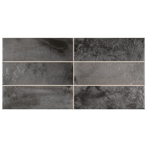 "Picture of Kings Raku Black 15-3/4""x7-7/8"" Ceramic Wall Tile"