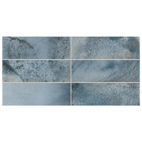 "Picture of Kings Raku Blue 15-3/4""x7-7/8"" Ceramic Wall Tile"