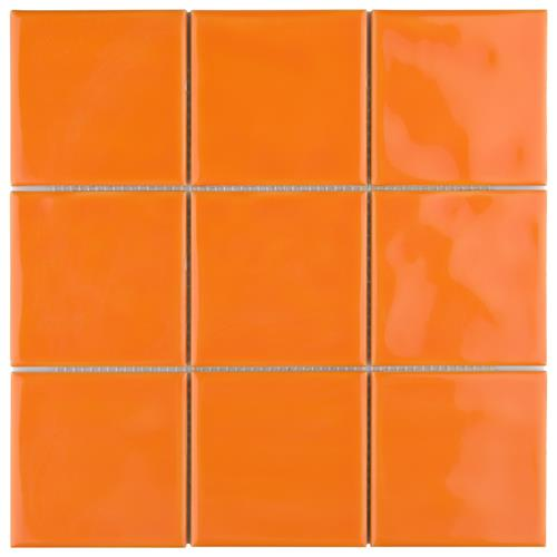 "Picture of Twist Square Orange Sunset 3-7/8""x3-7/8"" Ceramic W Tile"