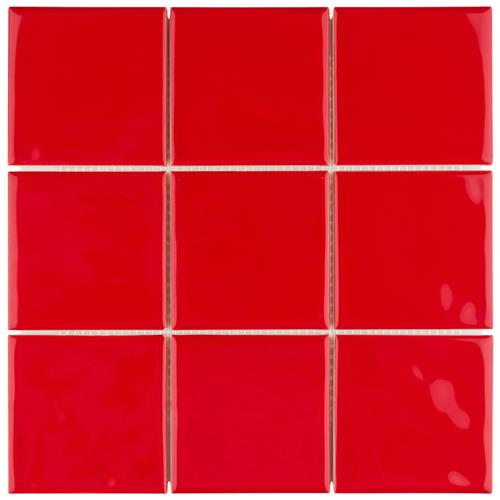 "Picture of Twist Square Red Cherry 3-7/8""x3-7/8"" Ceramic W Tile"