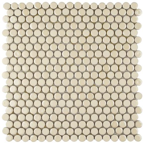 "Picture of Galaxy Penny Round Almond 11-1/4""x11-3/4"" Porcelain Mos"