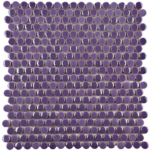 "Picture of Galaxy Penny Round Purple 11-1/4""x11-3/4"" Porcelain Mos"