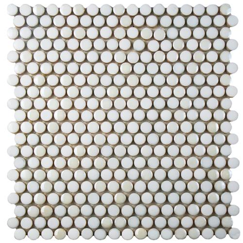 "Picture of Galaxy Penny Round White 11-1/4""x11-3/4"" Porcelain Mos"