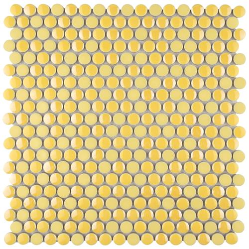 "Picture of Galaxy Penny Round Yellow 11-1/4""x11-3/4"" Porcelain Mos"