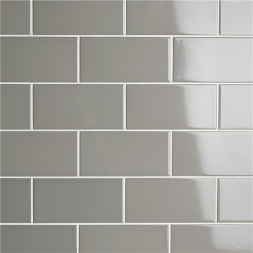 "Picture of Park Slope Subway Glossy Warm Grey 3""x6"" Ceramic W Tile"