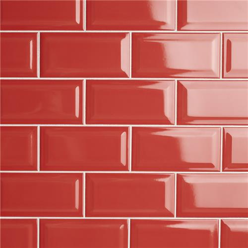 "Picture of Park Slope Subway Beveled Apple Red 3""x 6"" Ceramic W Tile"
