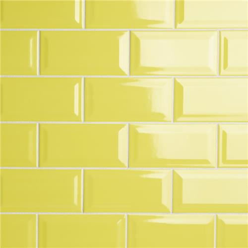 "Picture of Park Slope Subway Beveled Canary Yellow 3""x6"" Ceramic W Tile"
