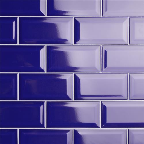 "Picture of Park Slope Subway Beveled Royal Blue 3""x6"" Ceramic W Tile"