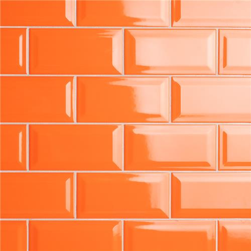"Picture of Park Slope Subway Beveled Tangerine Orange 3""x6"" Cer W Tile"